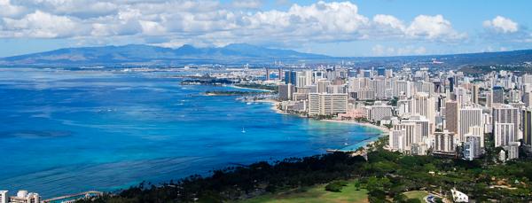 The view from Diamond Head walk in O'ahu, Hawaii