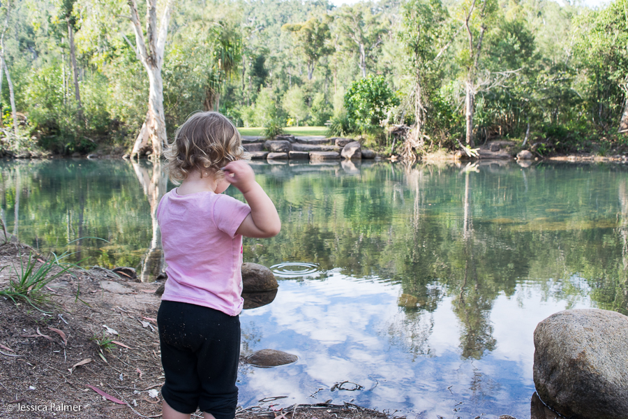 Taking a break to throw rocks in a creek at Byfield National Park in Queensland, Australia
