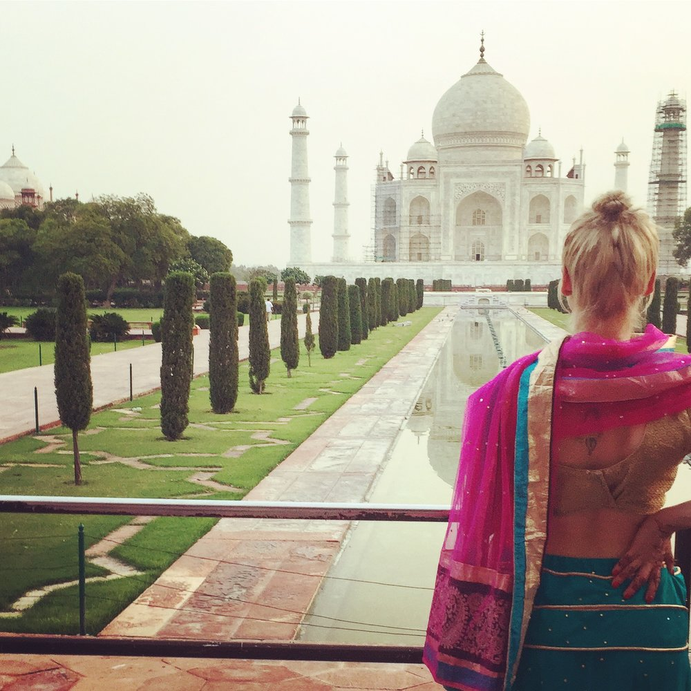 Revelling in the beauty of the Taj Mahal in Agra, India.