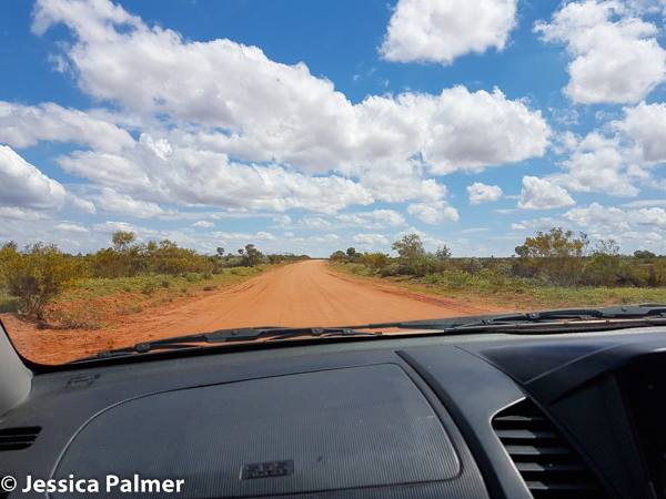 A typical red dirt road in Central Australia