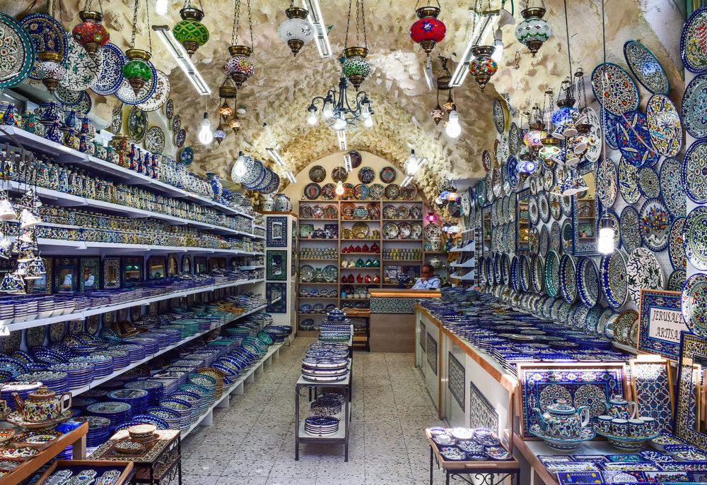 Beautiful shop nestled in the Arab Market in Jerusalem, Israel.