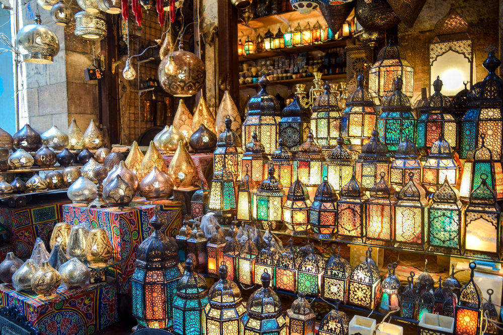 Endless lamps in the Cairo market.