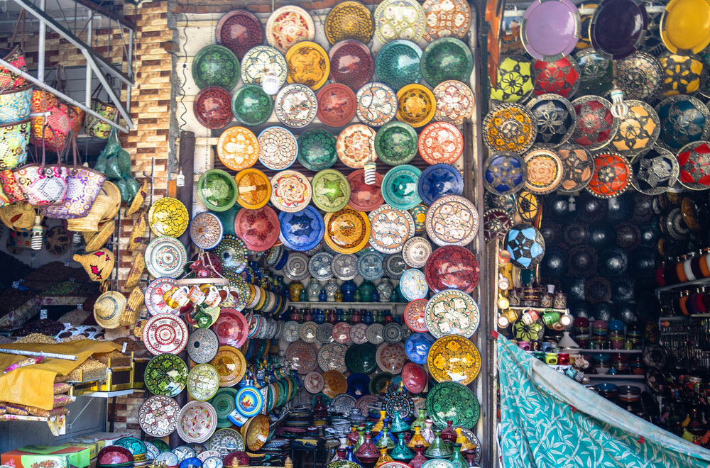 The markets of Marrakech, Morocco, can be daunting in its size and constant activity, but it is also full of beautiful pieces of local handiwork.