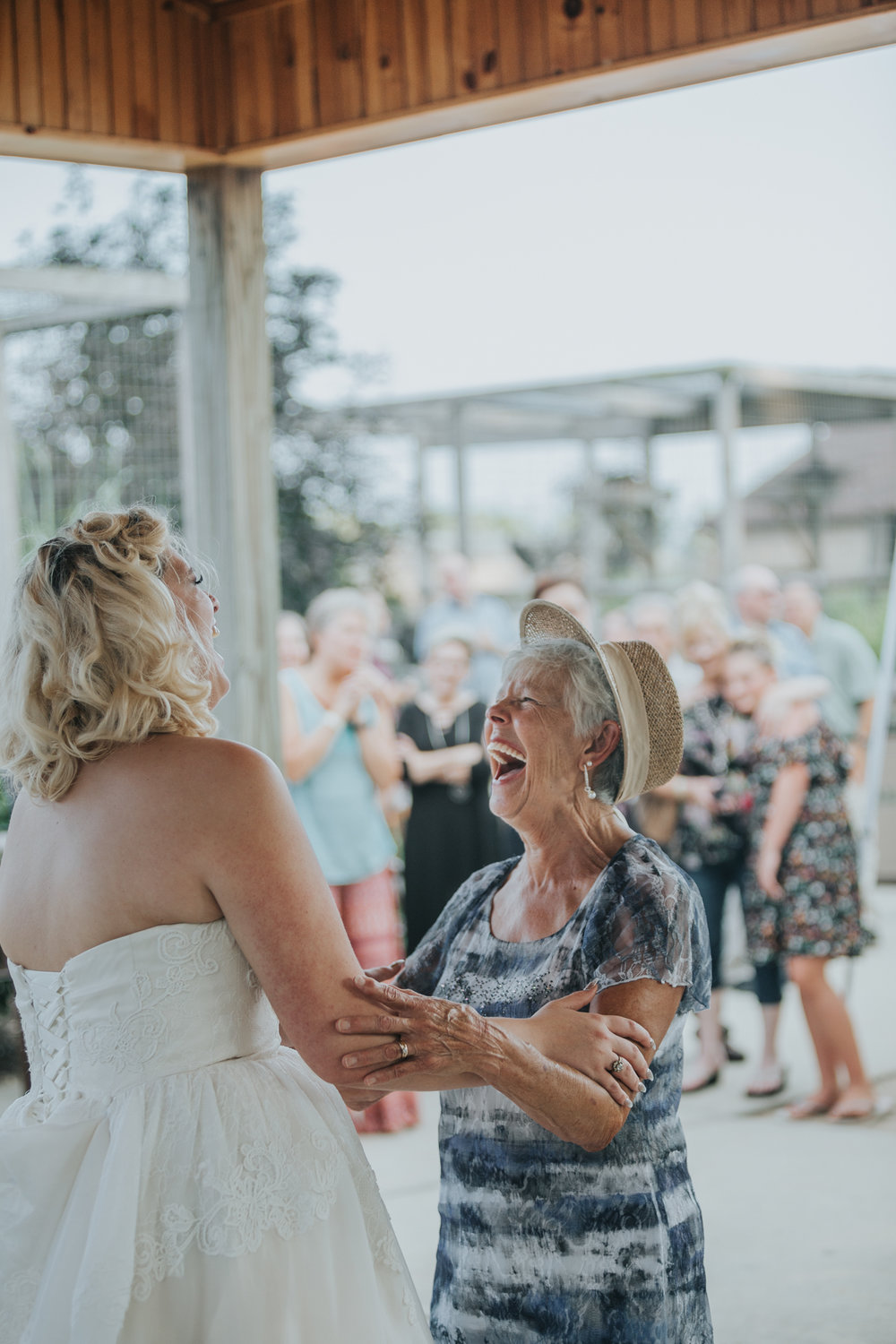 grandmother laughing and dancing