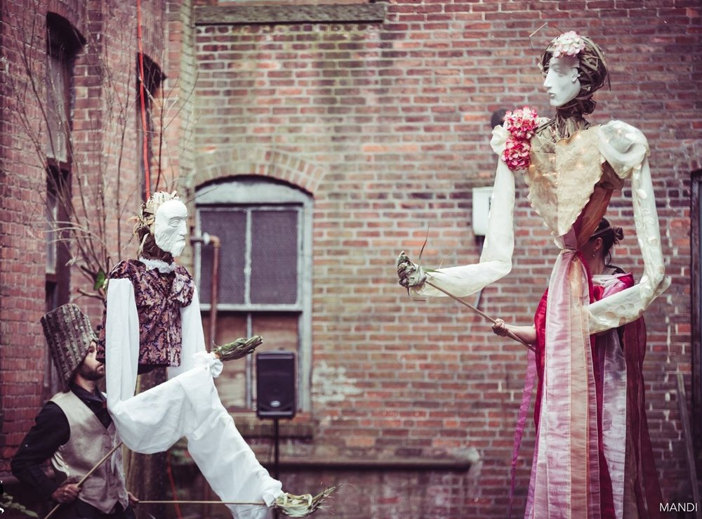"Oberon & Titania in Shakespeare's Act II of ""Midsummer Night's Dream"" by Sova Theater in a larger production of Desultory Theatre Club's ""Secret Shakespeare"" in 2017.  This 20 minute segment will be revisited in new form for LaMama's Puppet Festival 2018, JumpStart series.  Photo Credit: Mandi Martini"