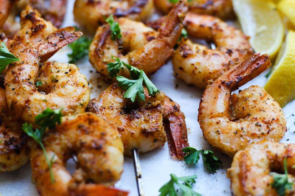 Shrimp Skewers with Peanut Pesto