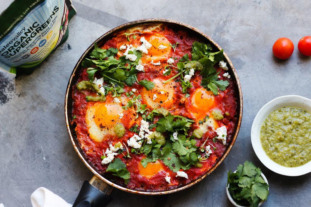 Shakshuka with Tomatillo Salsa Verde