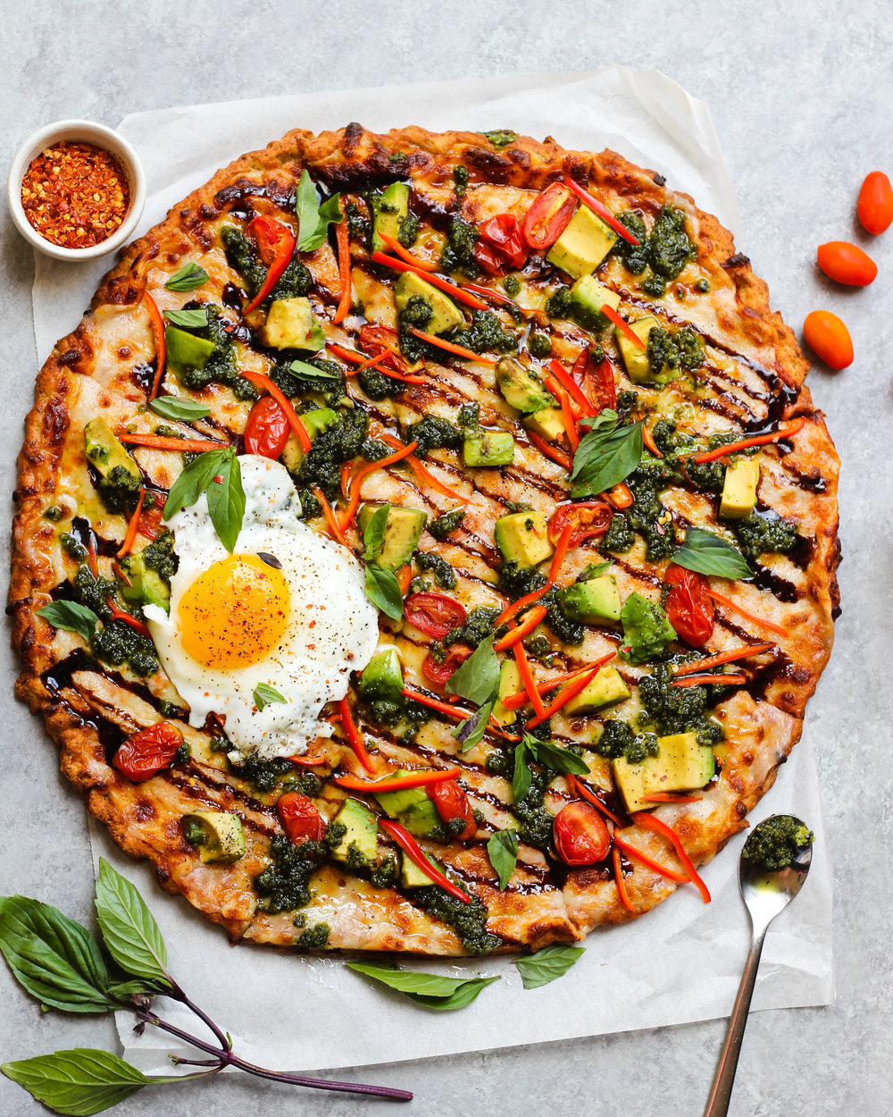 Avocado Caprese Cauliflower Crust Pizza