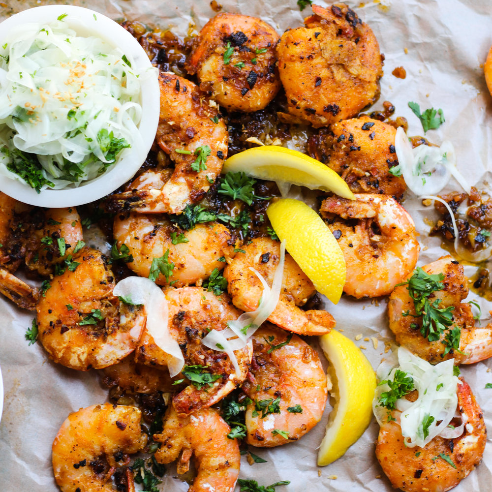 Hawaiian Garlic Shrimp with a Sweet Onion Salad