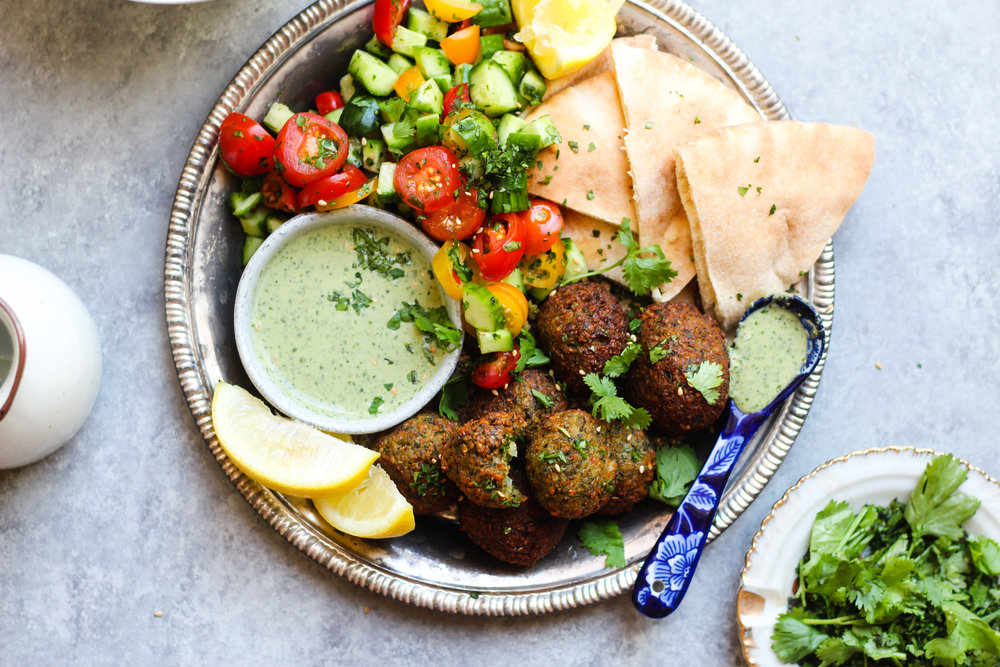 Falafel with Basil Tahini Dressing