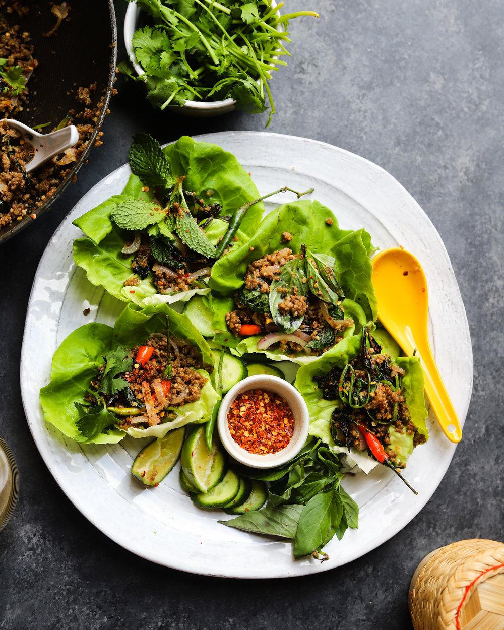 Thai Lamb Larb Lettuce Wraps