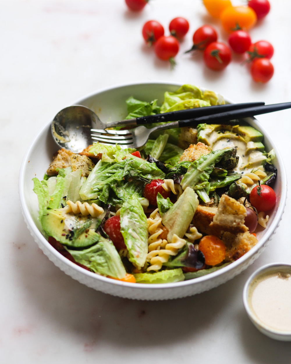 Loaded Pasta Caesar Salad (Vegan!)