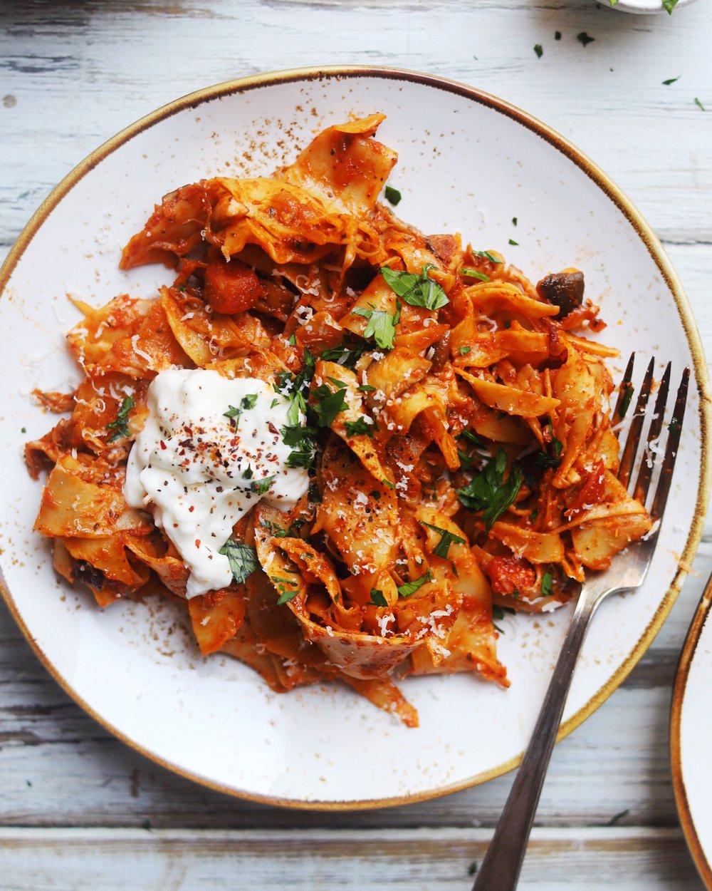 Shredded Mushroom Ragu Pasta