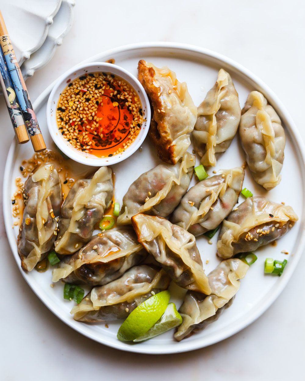 Mexican Potstickers with Chili Oil