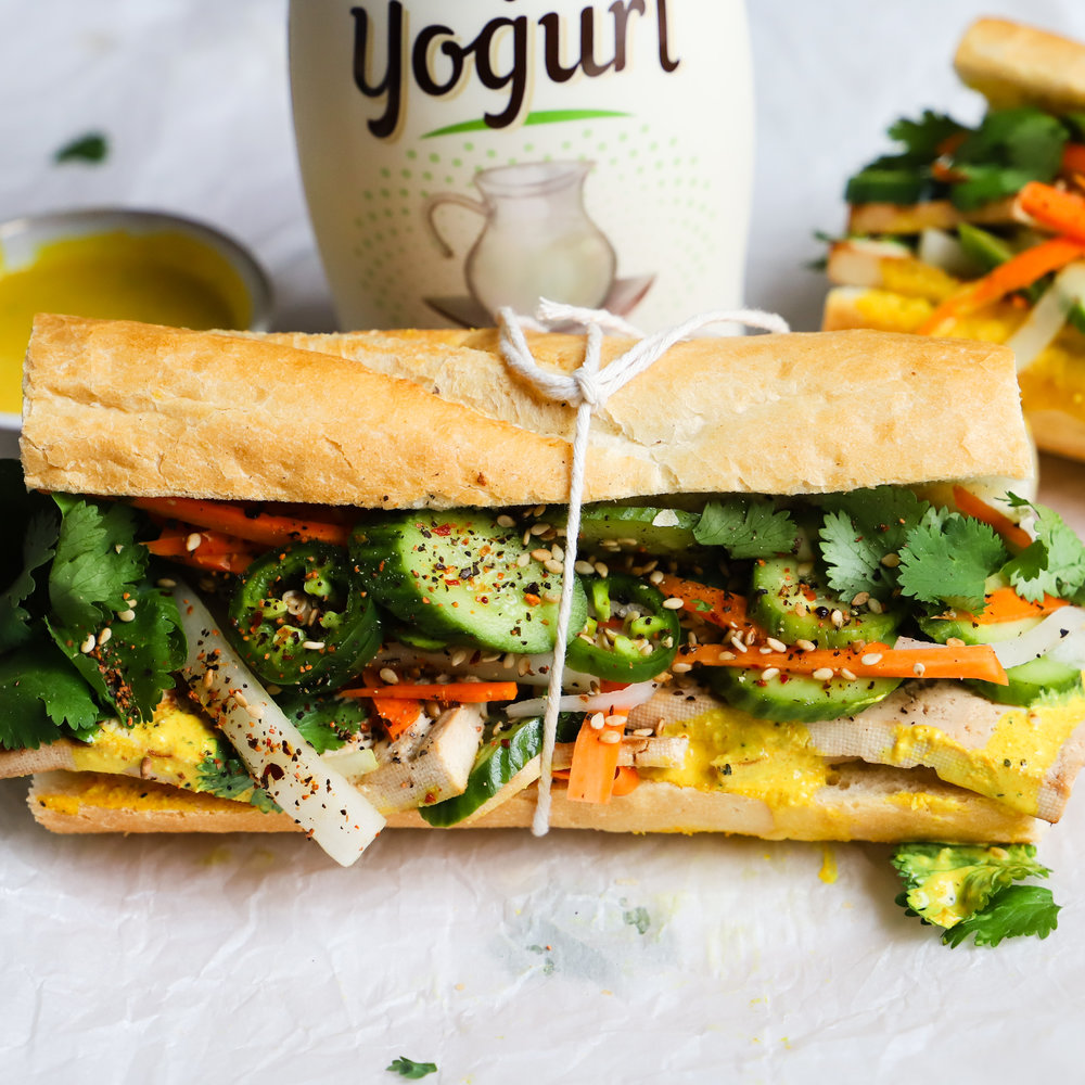 Tofu Banh Mi with Yogurt Turmeric Dressing