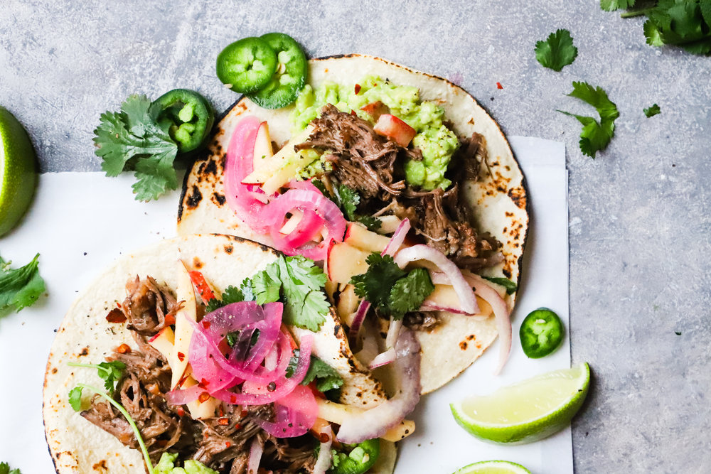 Braised Short Rib Tacos with Apple Slaw