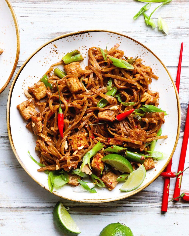 Crispy Tofu Tahini Noodles