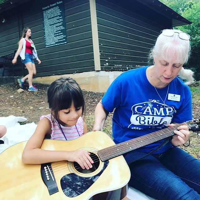 Kay does some impromptu guitar lessons #vbs2018 #KPUMC
