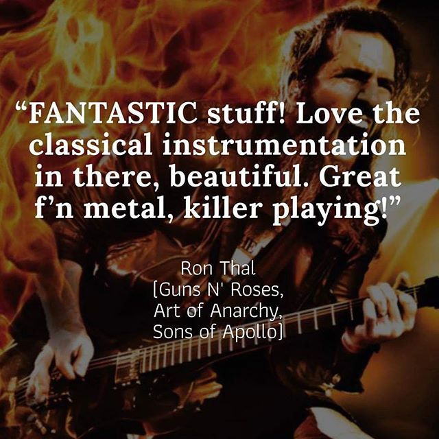 """Kind words about our album from the supremely talented @bumblefoot. """"We're not worthy, we're not worthy!"""" #bumblefoot #quote #waynesworld #🤘 #metal #infinitespecrrum"""