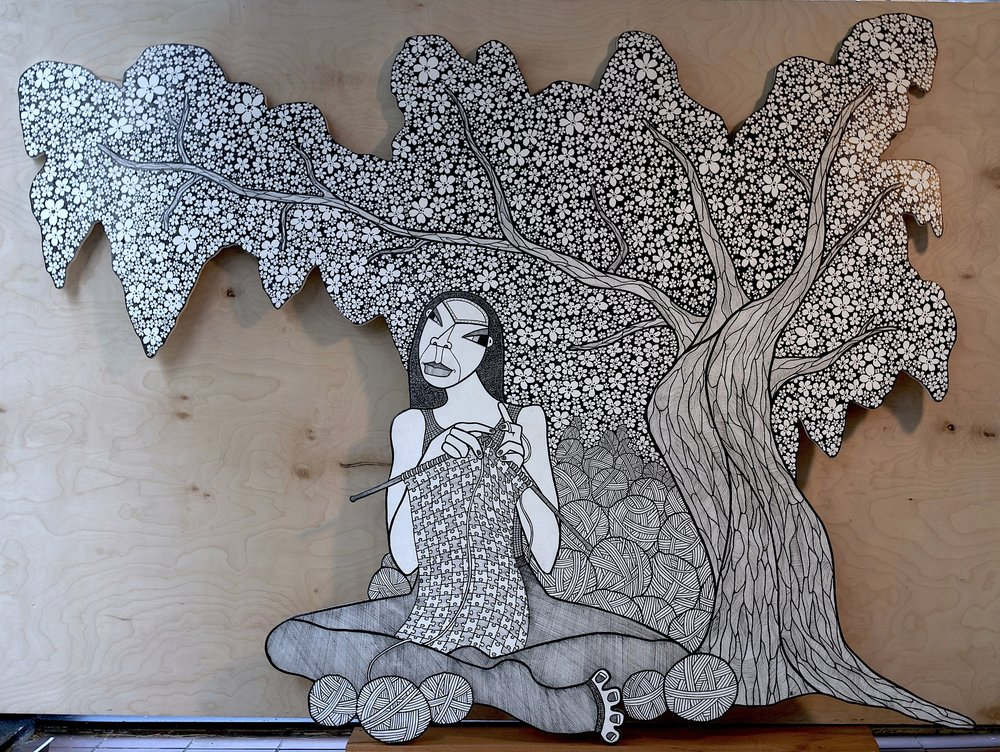 A CBD in D.C. ( A Cherry Blossom Dream in D.C.), ink on birch plywood, 48 x 68 inches, 2014