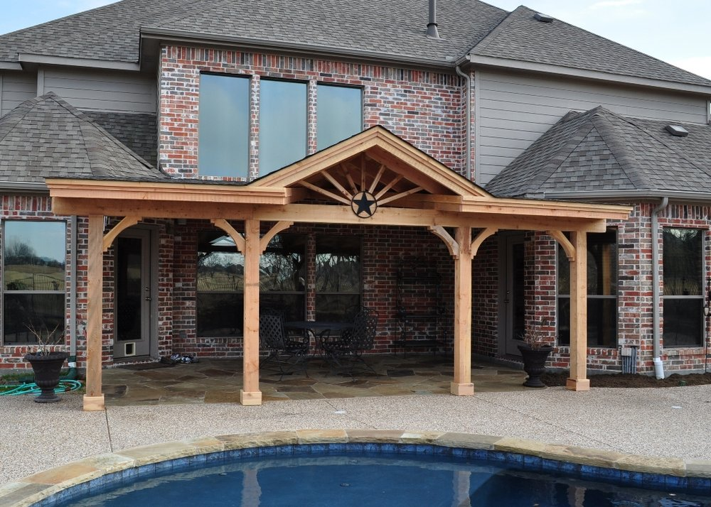 Elegant Shed Style Patio Cover With Gable Overlooking Waterview Golf Course In  Rowlett, TX