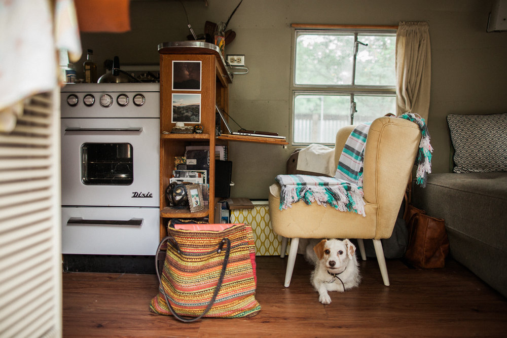 The original stove, which is in perfect condition. Ashlee loves cooking with it! A view of Ashlee's desk space and Lucy looking awfully cute under that chair.