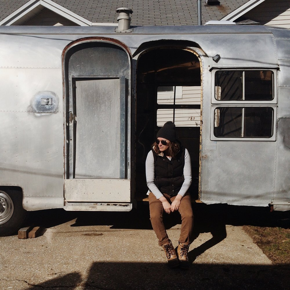 mE, ABOUT 30 POUNDS HEAVIER THAN i was when we finished the renovation. The work was so laborious that I shed weight without even having to go to the gym. Also, I remember thinking at this point there was no way this trailer would ever look good again.