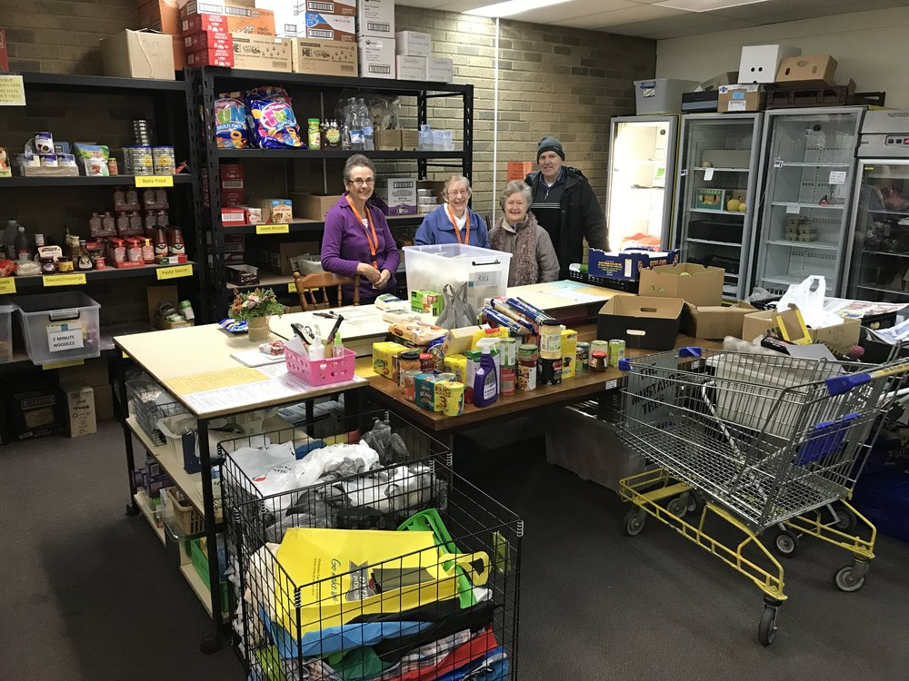 Laurie and Jan with some of the amazing volunteers at the Lilydale Baptist Church Food Bank.