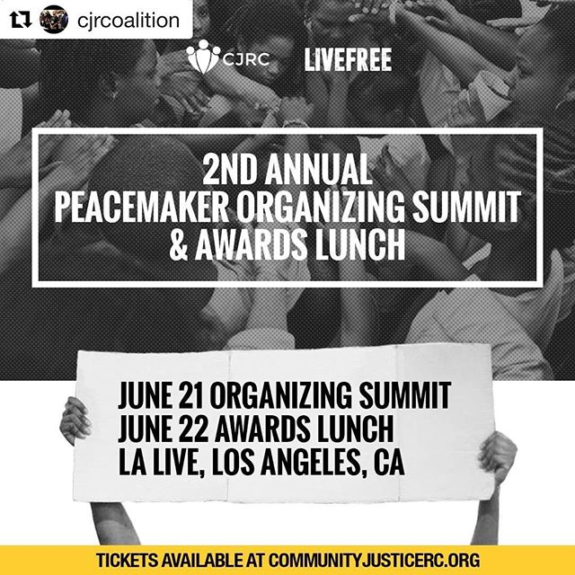 ❗️Update from CEF-sponsored org @cjrcoalition about their 2nd Annual Peacemaker Organizing Summit❗️ . . . We're almost at capacity for the 2nd Annual Organizing Summit in Los Angeles - but sponsorships and individual tickets are still available for the Peacemaker Awards Lunch on June 22! Register now to celebrate the great work of this year's Peacemakers (and stay tuned as we announce our awardees!). Link in @cjrcoalition bio