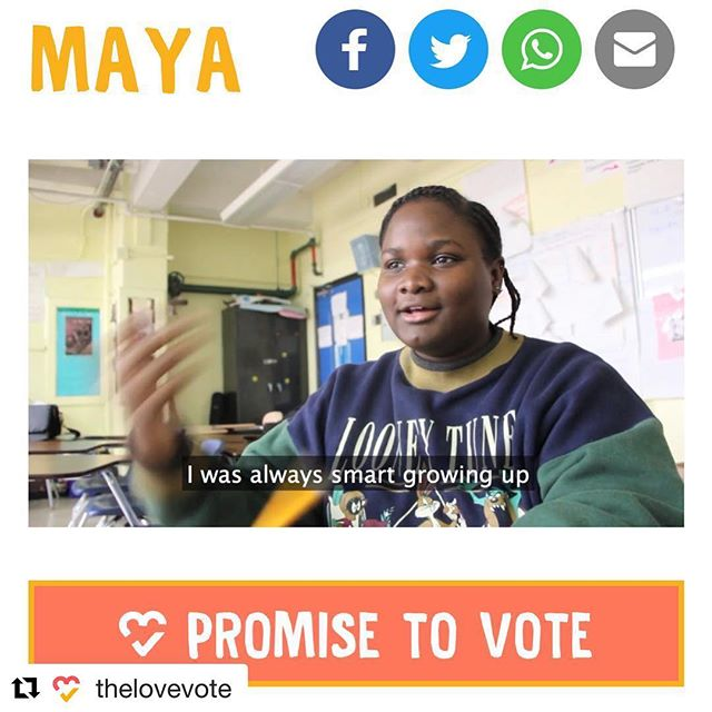 Check it out! Head over to CEF initiative @thelovevote's website to see Maya's video and promise to vote today! 🧡🗳💛 #thelovevote #civicengagementfund ・・・ Maya's story is on our site! Link in bio. 🎓🗳❤️ #thelovevote #mover