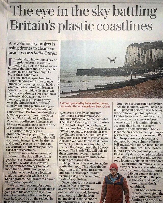Our feature in today's @telegraph! Thanks to writer #indiasturgis who also braved the UK weather with us to write this piece and #christopherpledger for the photos! #theplastictide #visionfromtheskies