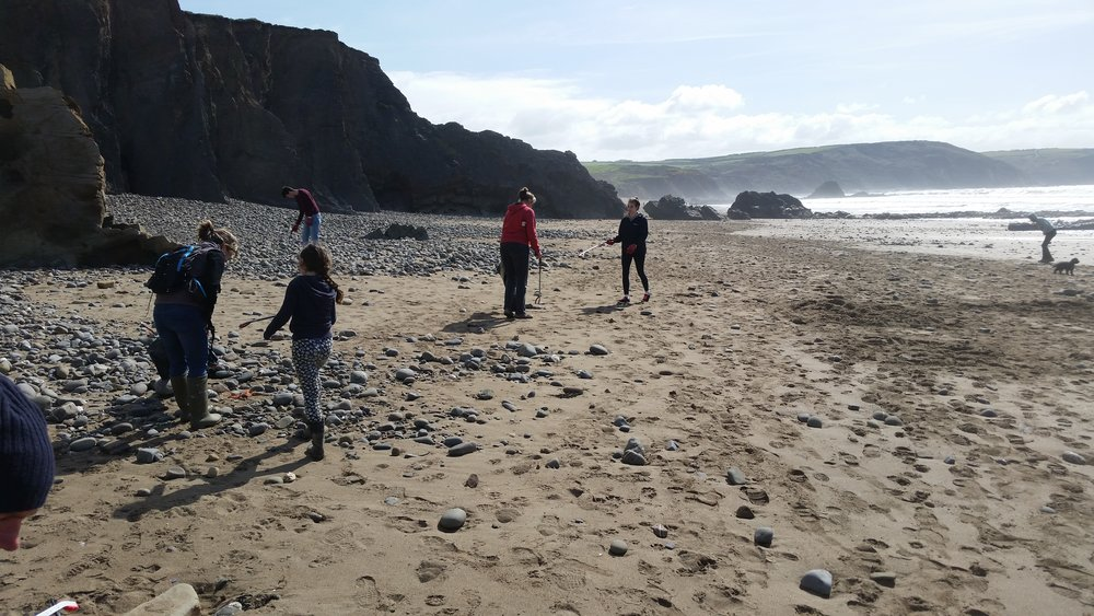 The Widemouth Task Force, hard at work cleaning Widemouth and about to move onto Blackrock beaches.
