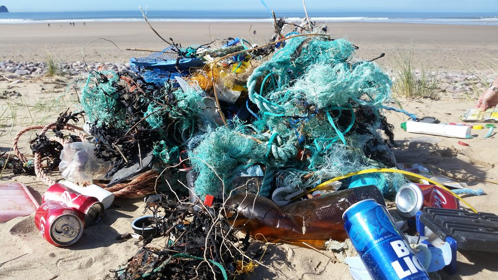 Rubbish collected in 20minutes at Rhossili beach, Wales.