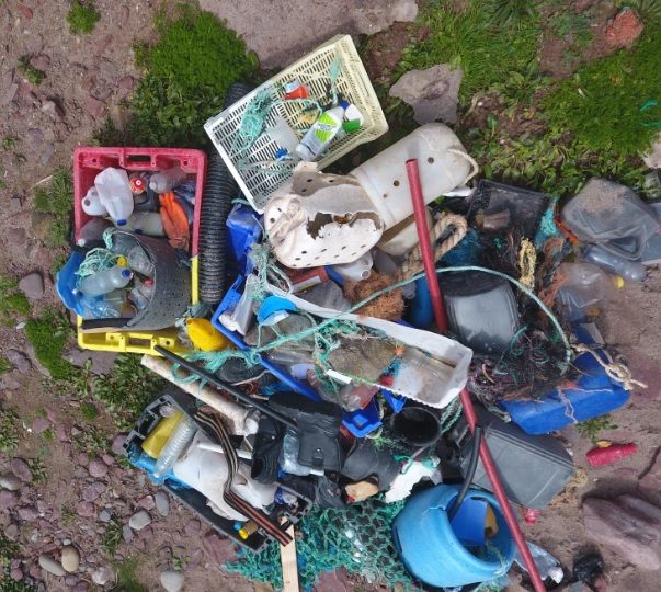 Collection of litter found at Westdale beach, Pembrokeshire.  All arrived on the plastic tide!