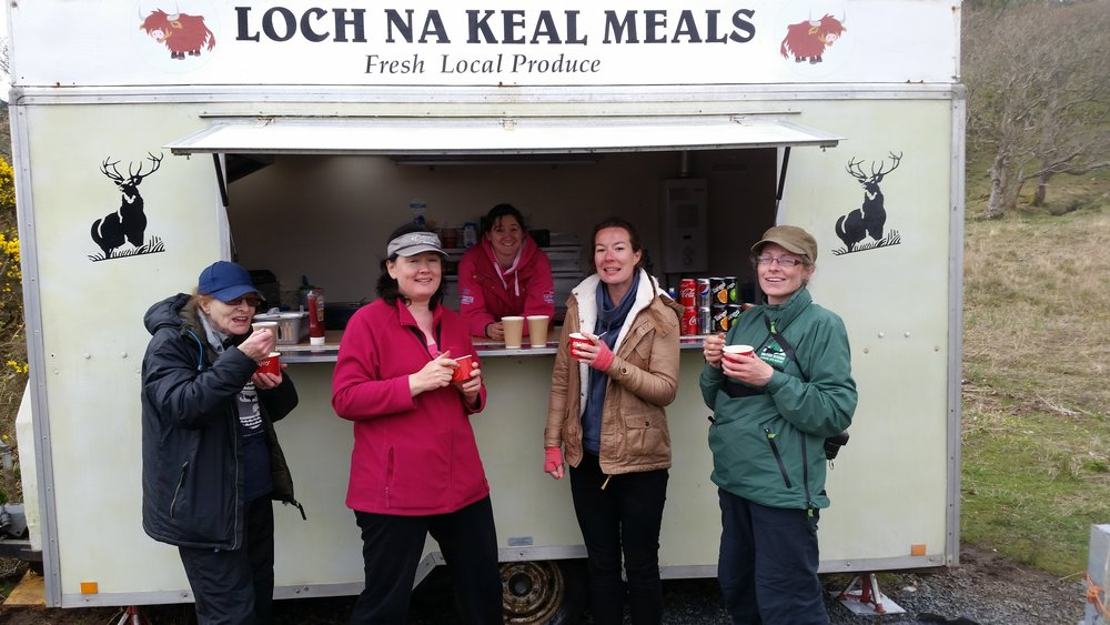 Cathy, Marie, Caroline, Ellie and Janie enjoying the amazing lentil soup and a well earned (sustainable) cuppa!