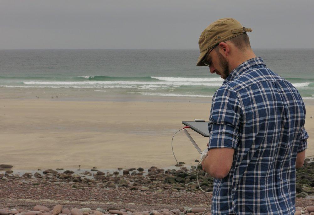 Pete preparing the survey drone (Courtesy David Haines)