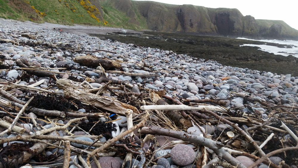 Plastic debris trapped along the strandline in the prison like valley.