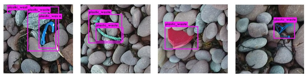The algorithm detecting plastics in images it has not 'seen' before, relying on what it has 'learnt' from previous images.