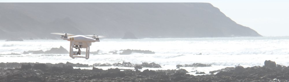 Drone in action over Gwithian Beach, Cornwall.