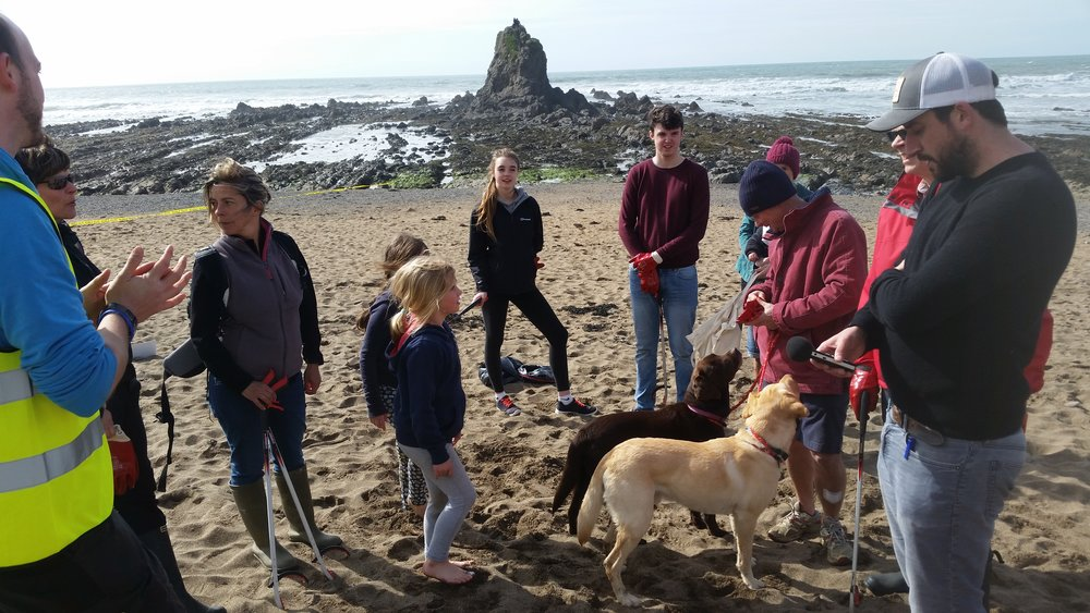 Pete with the Widemouth Task Force and their secret beach cleaning weapon - 2 x dogs at Widemouth Beach, Cornwall.