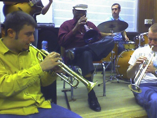 University of New Hampshire circa 2004 w/ Clark Terry. Chris Klaxton, Andy Greene (guit), Eric Von Oeyen (drums), Chris Burbank