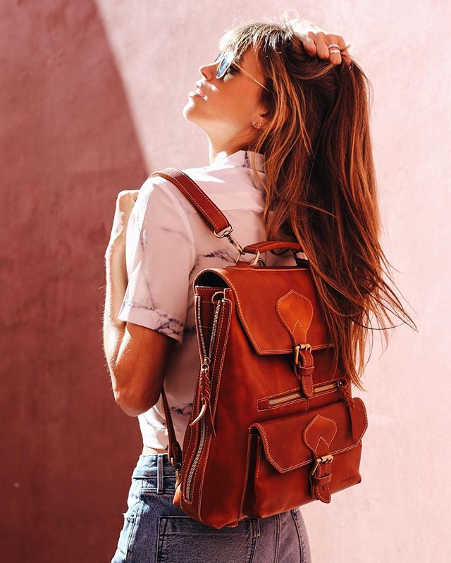 We can't get over this picture of @chasingkendall rocking our Bologna  backpack! Come to @renegadecraft fair at Fort Mason this weekend to make it yours 🙌🏻