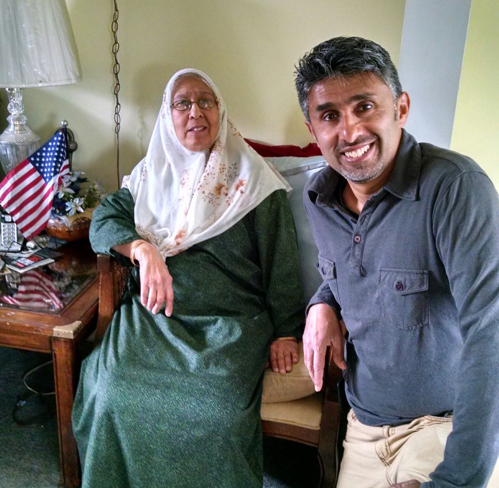 Saber Ahmed and her son Dr. Muzammil Ahmed at home. Photo courtesy of Muzammil.