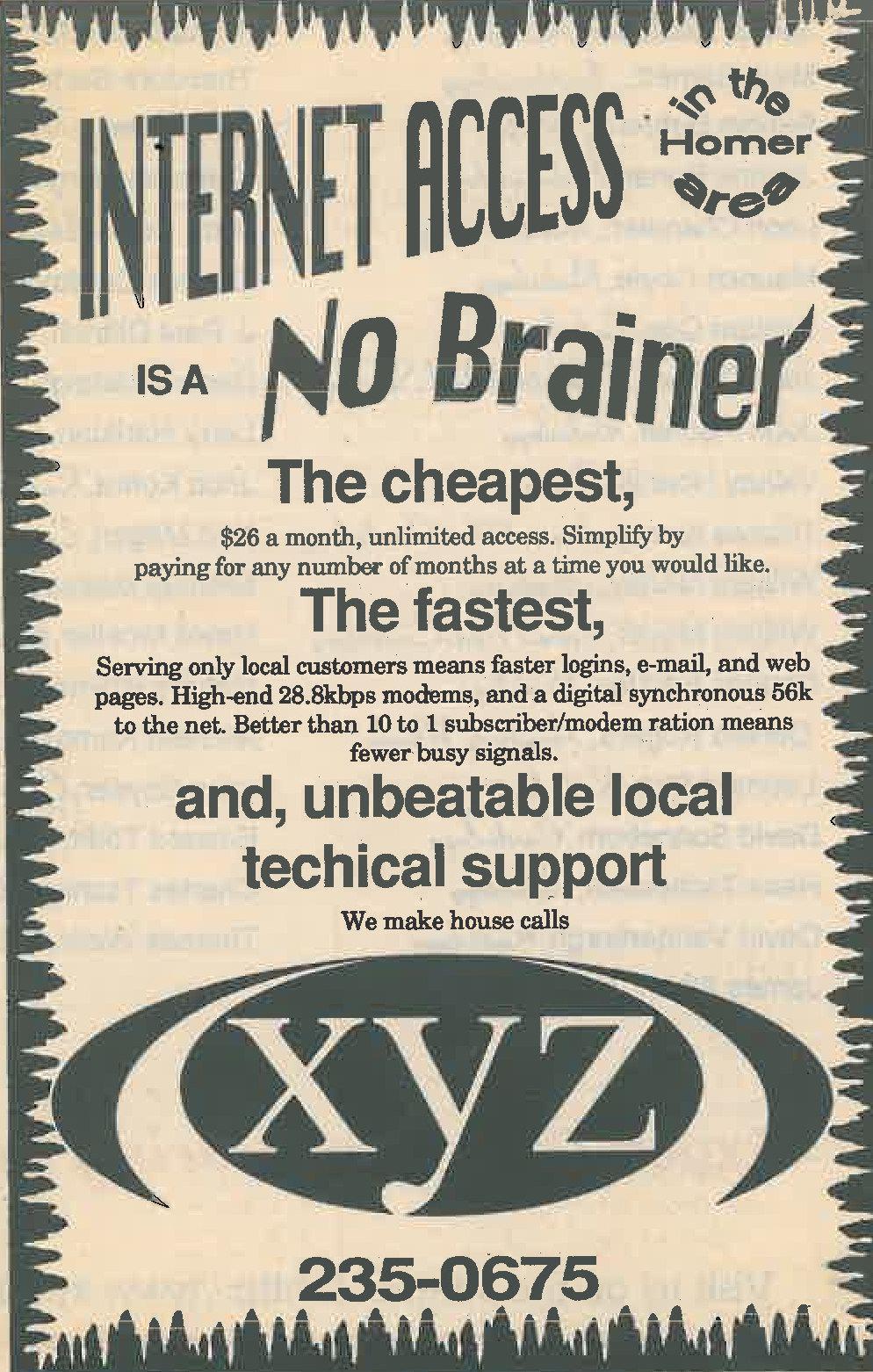 An advertisement for xyz internet in the Homer Tribune on March 26, 1996.     Credit: Hoemr  HOMER TRIBUNE/CINDY BARKER.