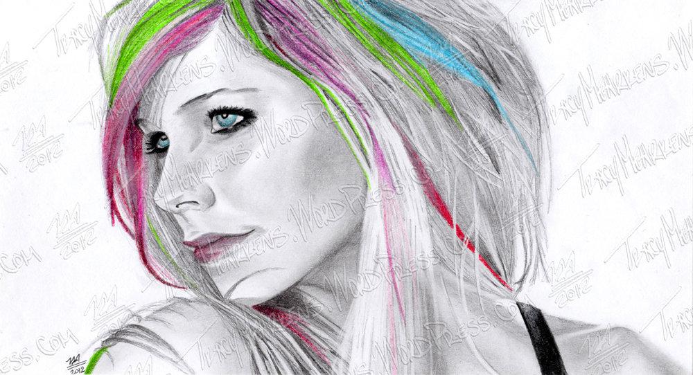 Copy of Avril Lavigne. Graphite, Pastel on Paper. 11x6 in. 2012.