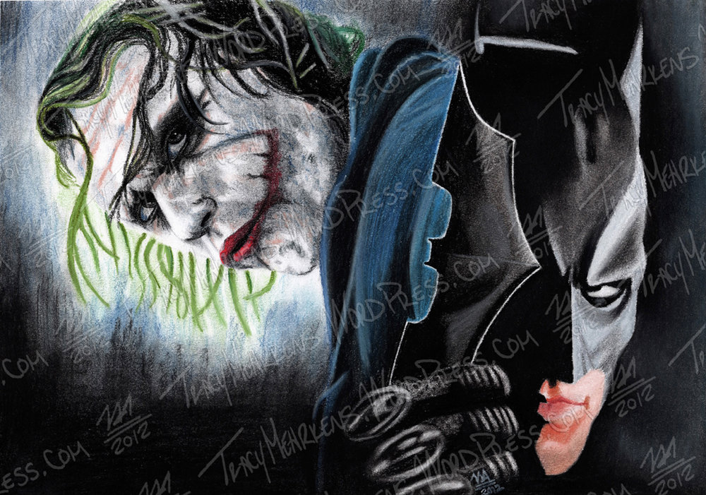 Batman & Joker. Pastel on Paper. 11x7.75 in. 2012.