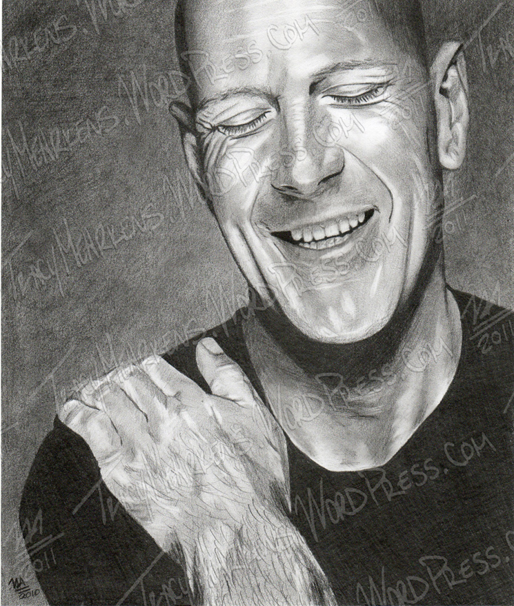Bruce Willis. Graphite on Paper. 7.75x9.25 in. 2010.