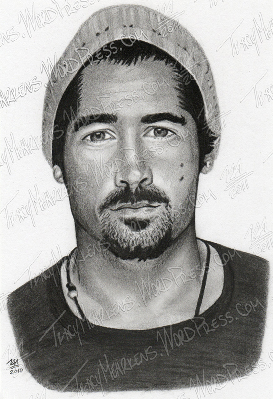Colin Farrell. Graphite, Charcoal on Paper. 5.75x8.5 in. 2010