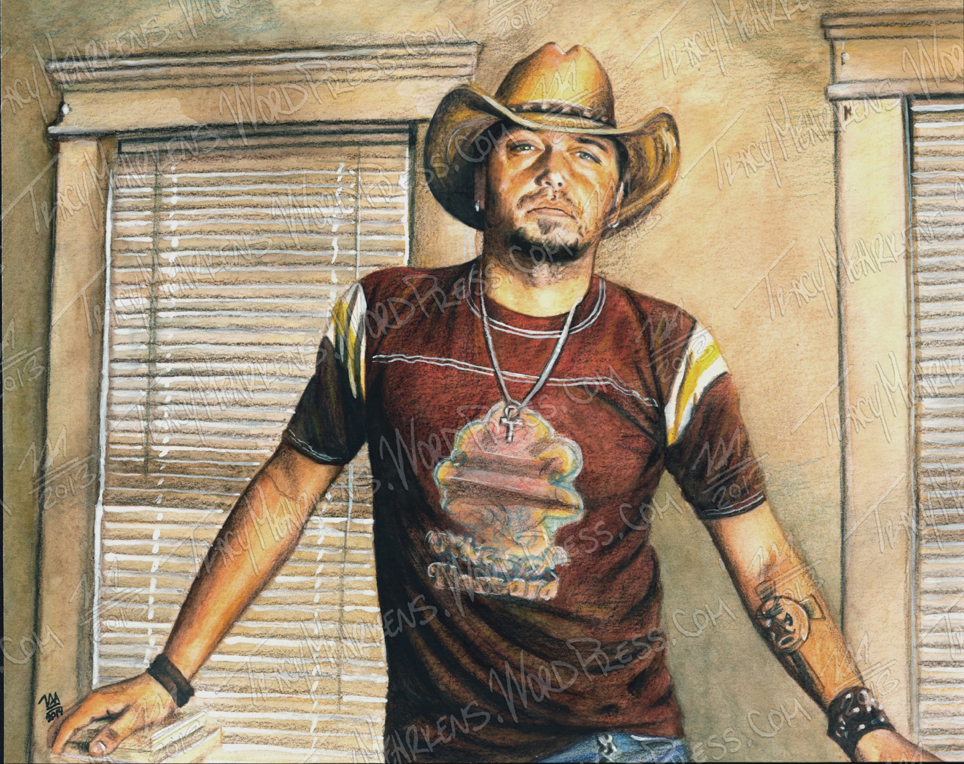 Jason Aldean. Watercolor on Paper. 10x8 in. 2014.