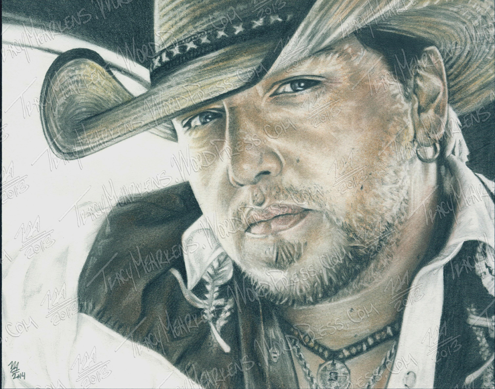 Jason Aldean. Graphite, Pastel on Paper. 10x8 in. 2014.